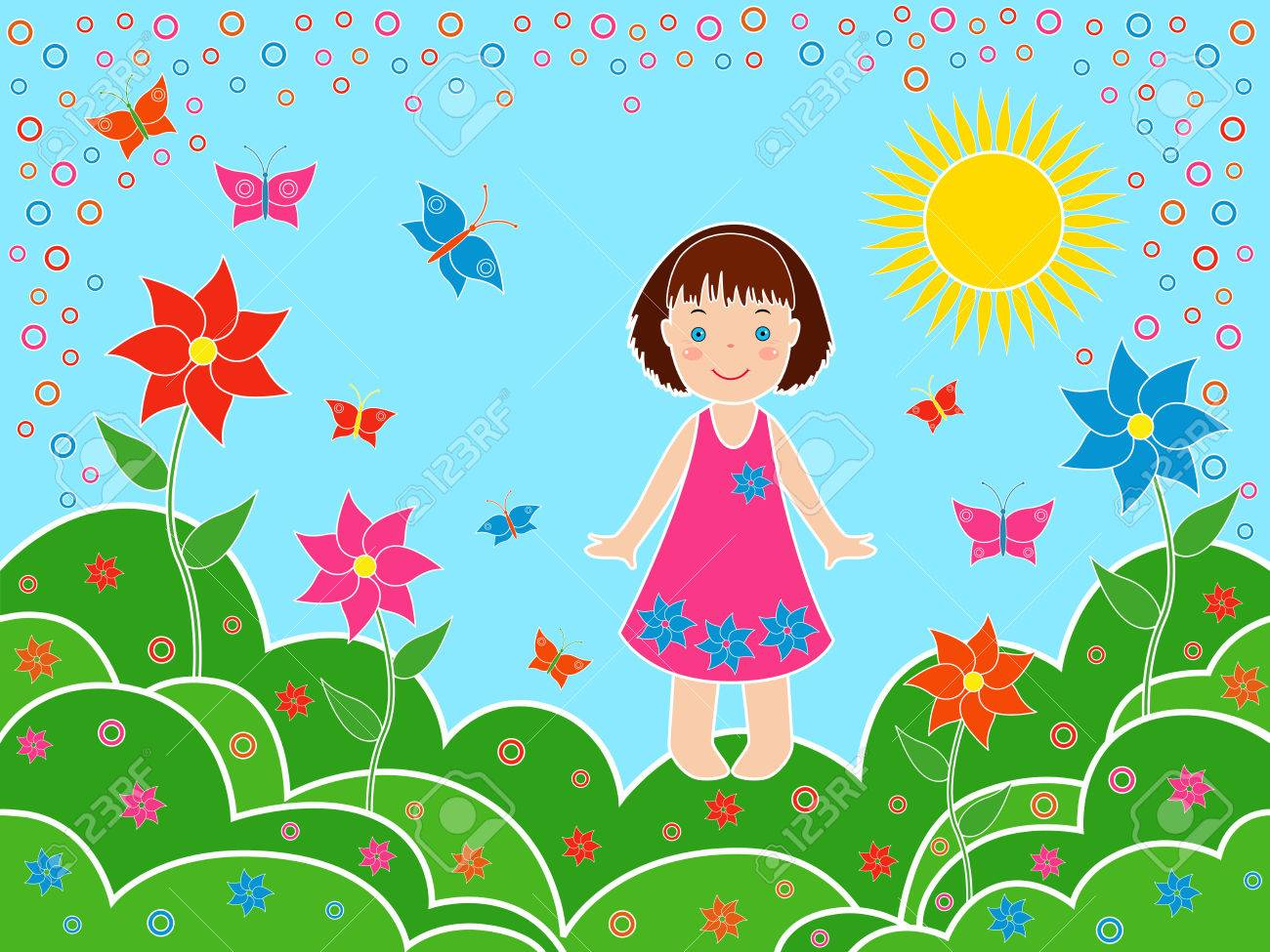 1300x975 Small Children Girl On The Meadows In Sunny Summer Day, Multicolor
