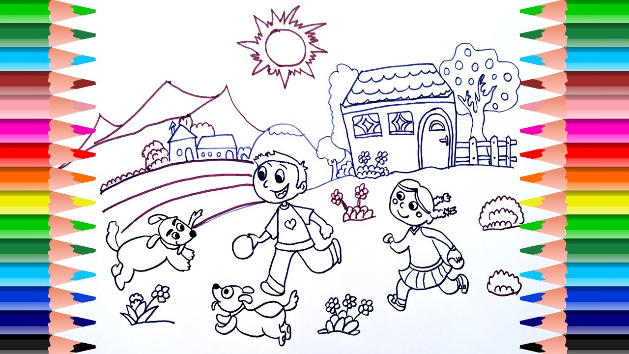1280x720 Summer Coloring Pages Funny Picture How To Draw Summer Vacation