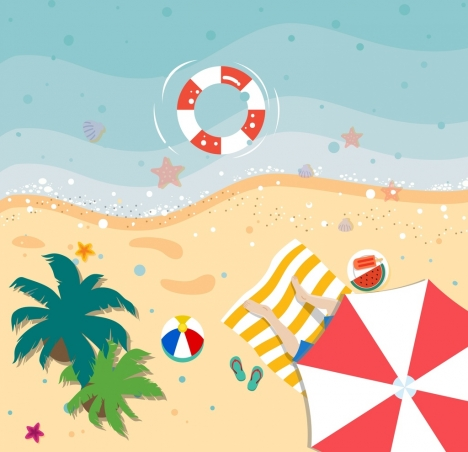 468x452 Summer Vacation Drawing Beach Scenery High View Vectors Stock