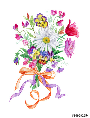 381x500 Bouquet Of Summer Flowers With Chamomile, Watercolor Drawing