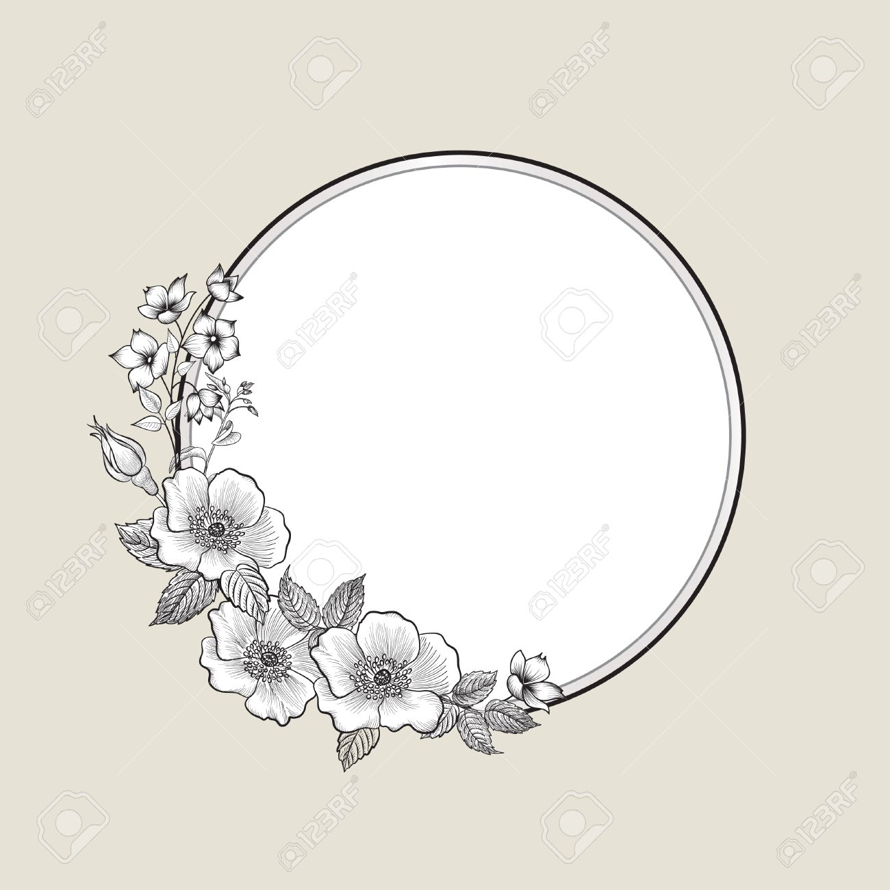 1300x1300 Floral Frame With Summer Flowers. Floral Bouquet With Rose