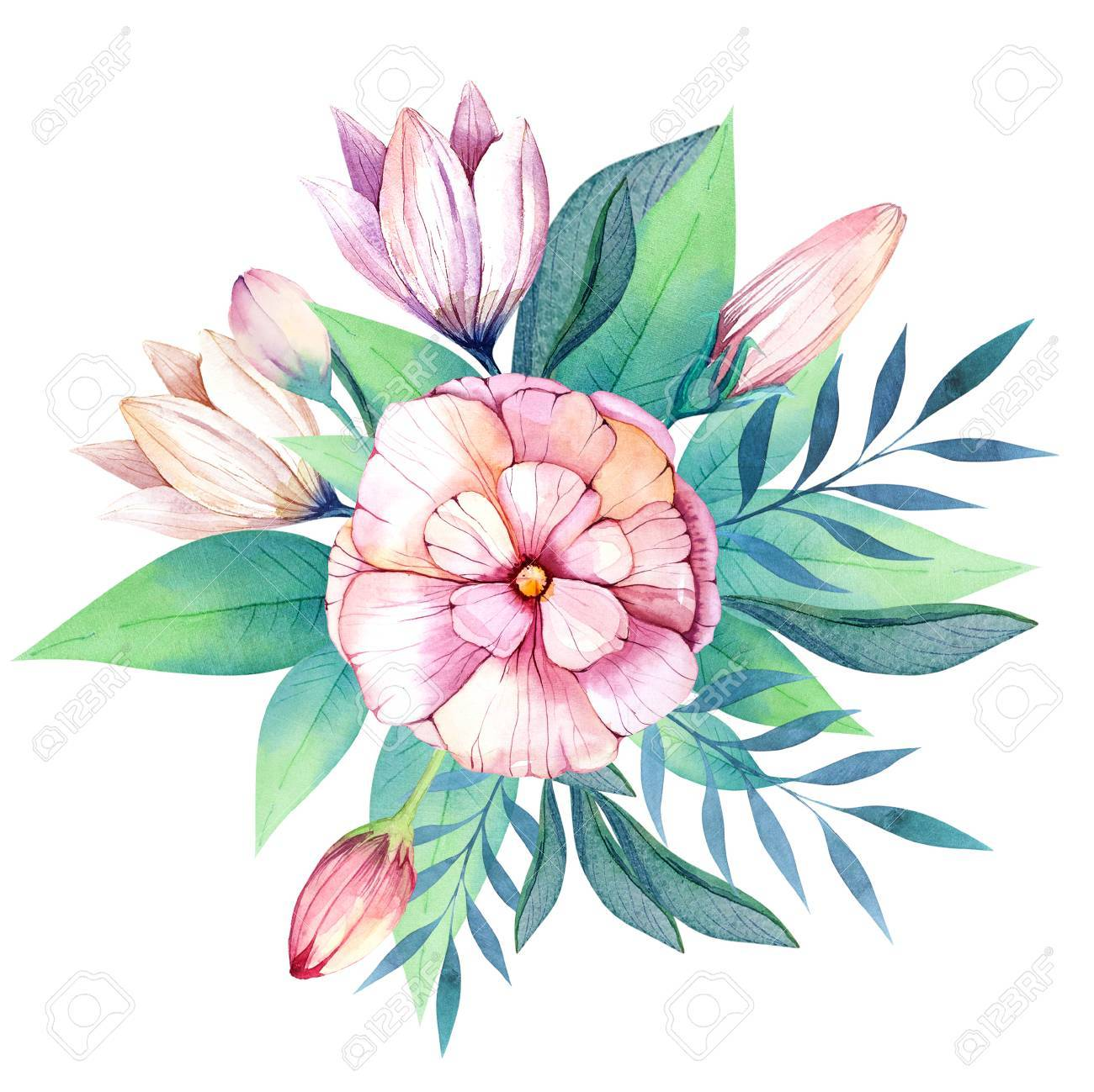 1300x1299 Flowers Set. Colorful Floral Bouquet With Leaves And Flowers