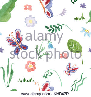 300x320 Summer Flower And Buterfly Hand Drawing Watercolor Seamless
