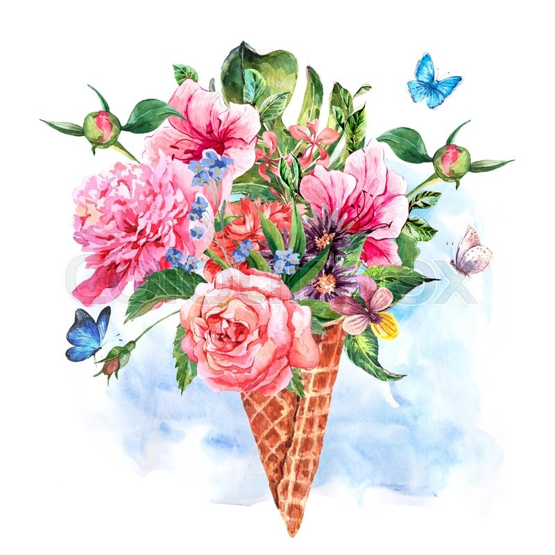 800x800 Summer Hand Drawing Watercolor Floral Greeting Card With Blooming