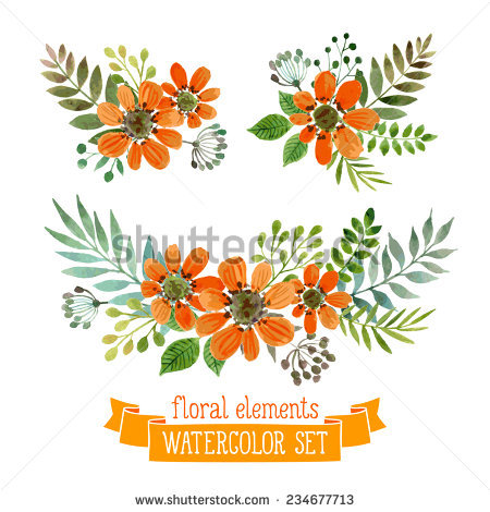 450x470 Vector Flowers Set. Colorful Floral Collection With Leaves