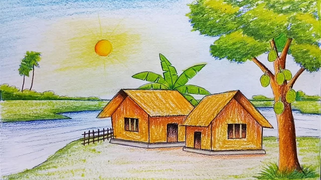 1280x720 Drawing On Scenery How To Draw Scenery Of Summer Season Stepstep