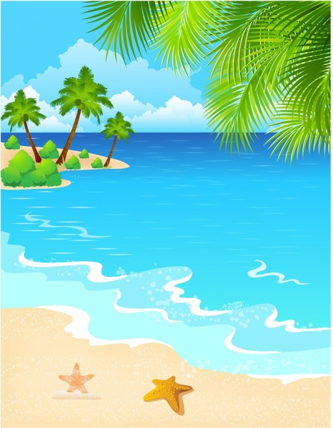 466x600 Drawing Beach Scene Free Vector Download (90,639 Free Vector)