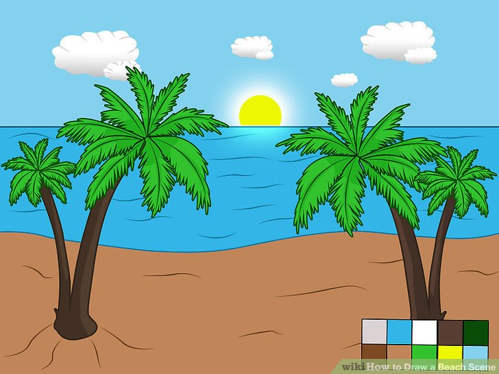 728x546 How To Draw A Beach Scene 6 Steps (With Pictures)