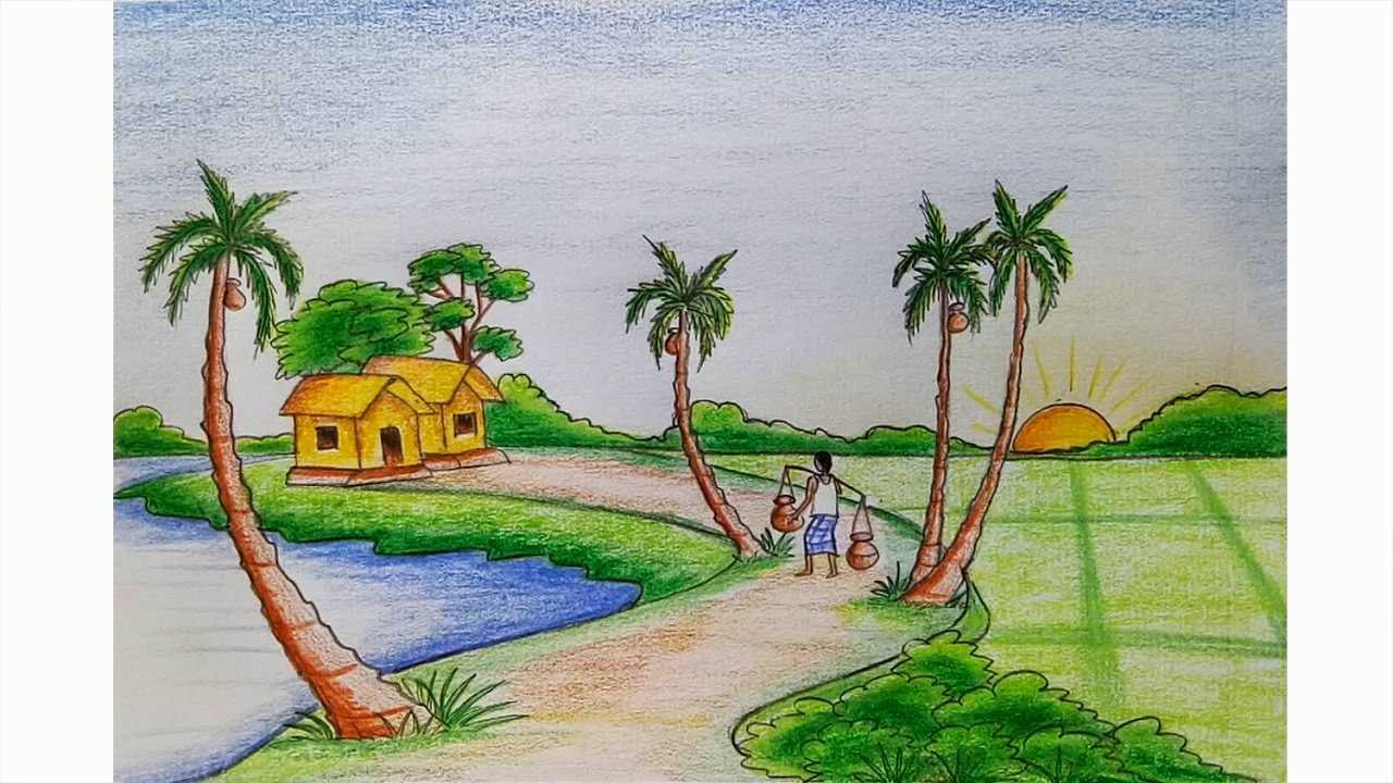 Summer Scene Drawing at GetDrawings.com | Free for personal use ...