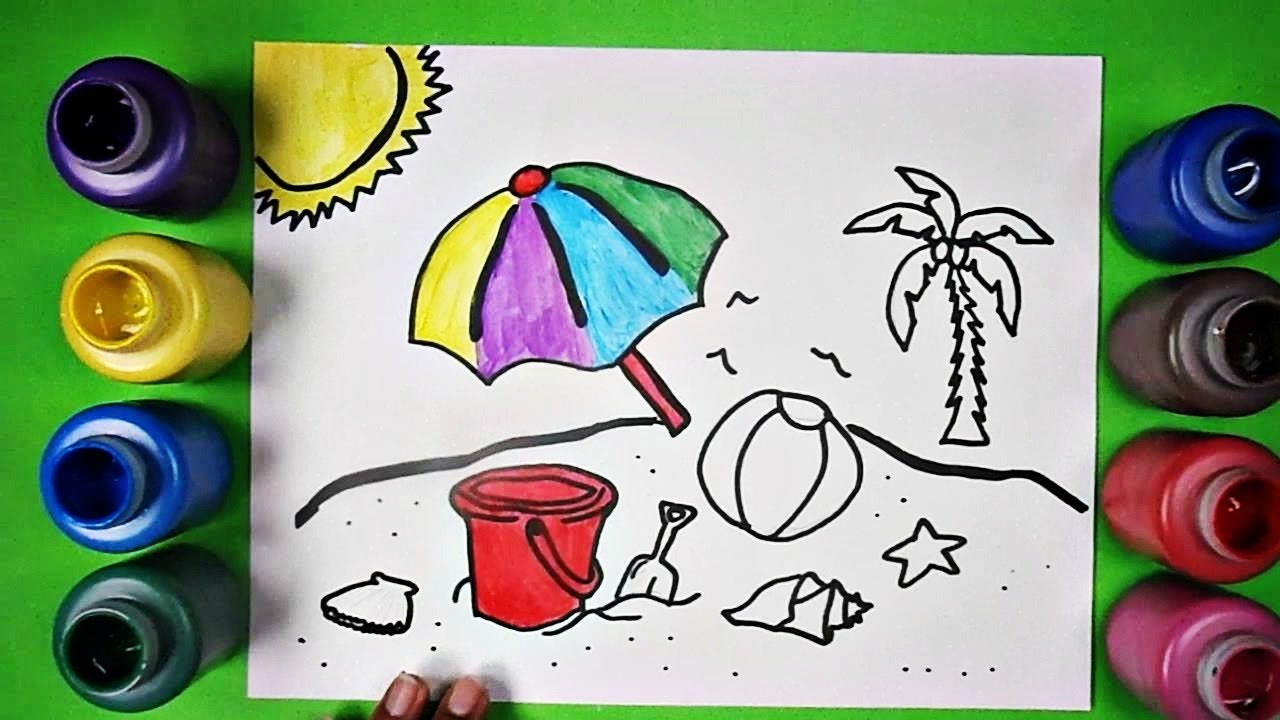 1280x720 Learn To Draw And Color Fun Summer Beach Scene Coloring Page
