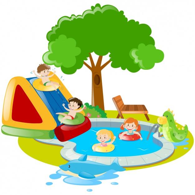 626x626 Summer Scene Of Children Playing Vector Free Download