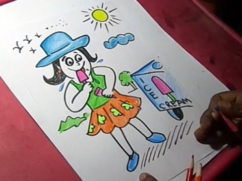 480x360 How To Draw Summer Season Eating Ice Cream Drawing For Kids