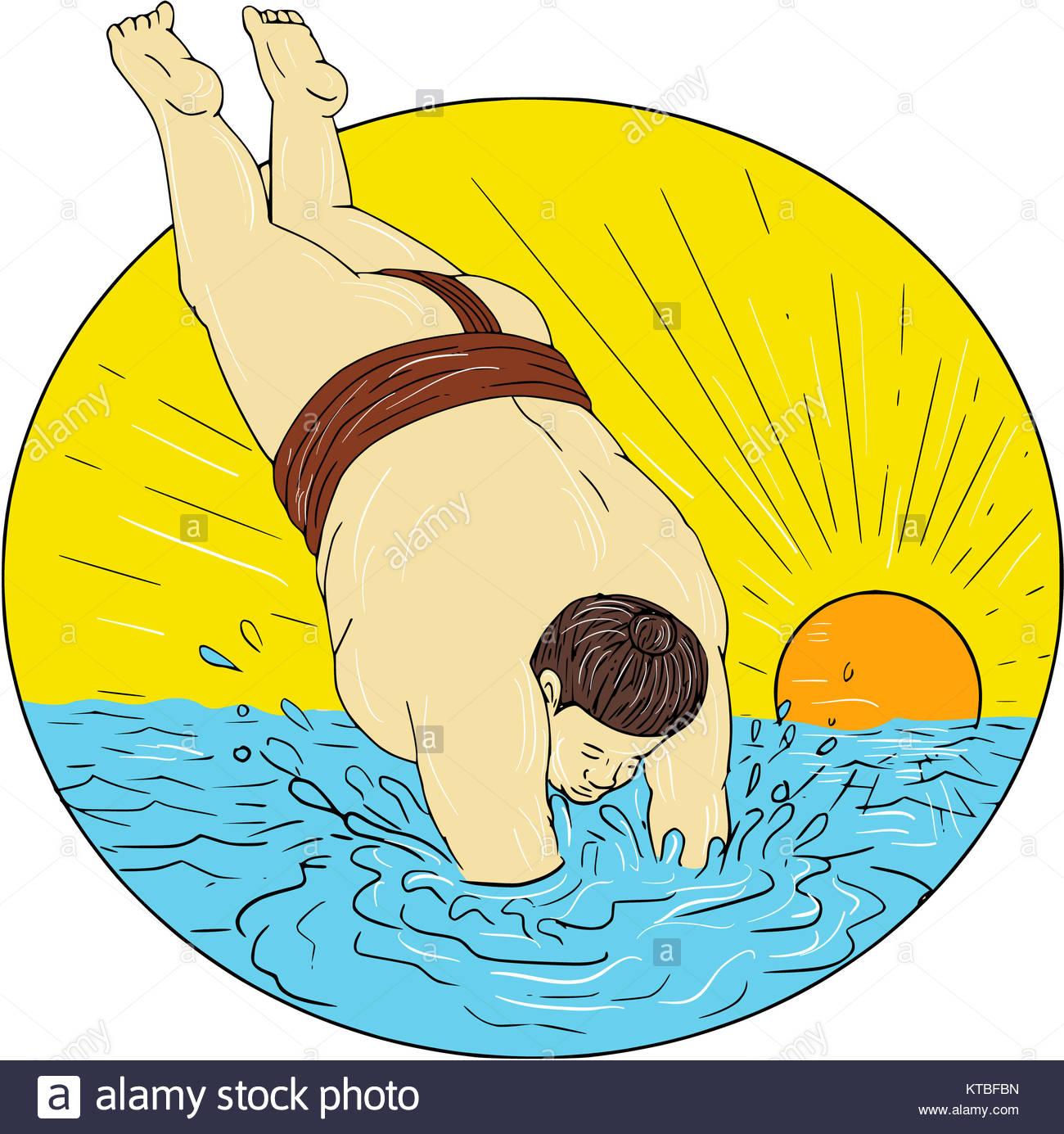 1300x1385 Japanese Sumo Wrestler Diving Sea Sunset Circle Drawing Stock