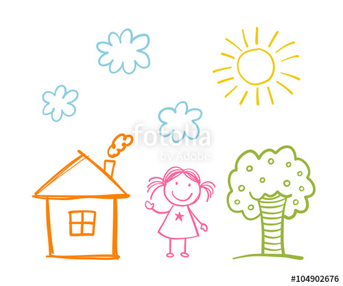 500x416 Doodle Children`s Drawing With Happy Girl, House, Tree, Clouds