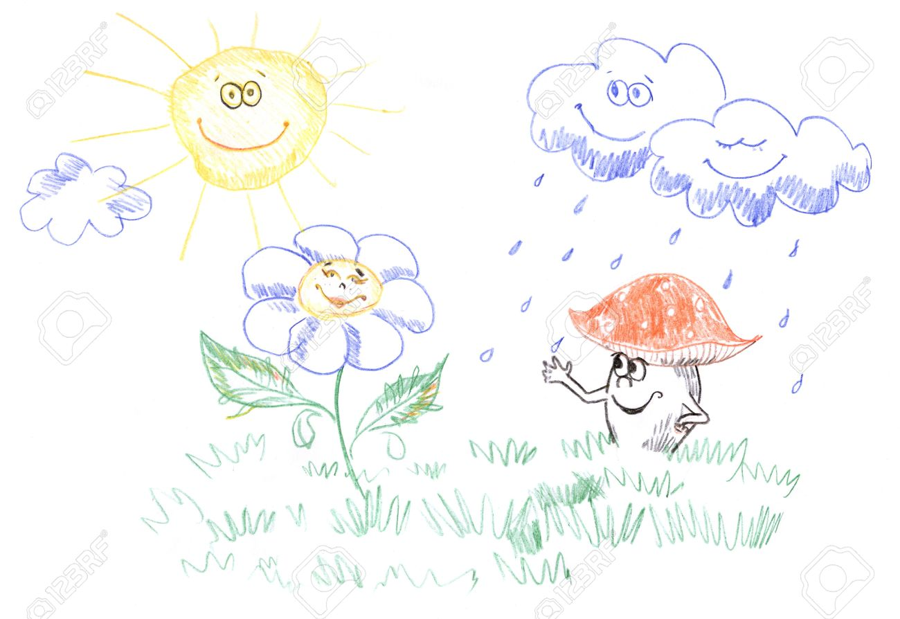1300x894 Kids Pencil Drawing Of Happy Sun, Clouds, Flower And Mushroom