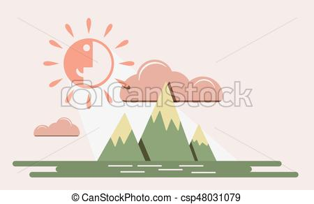450x292 Sun Smile Sky Vector. Mountain Sky With Funny Smiling Sun