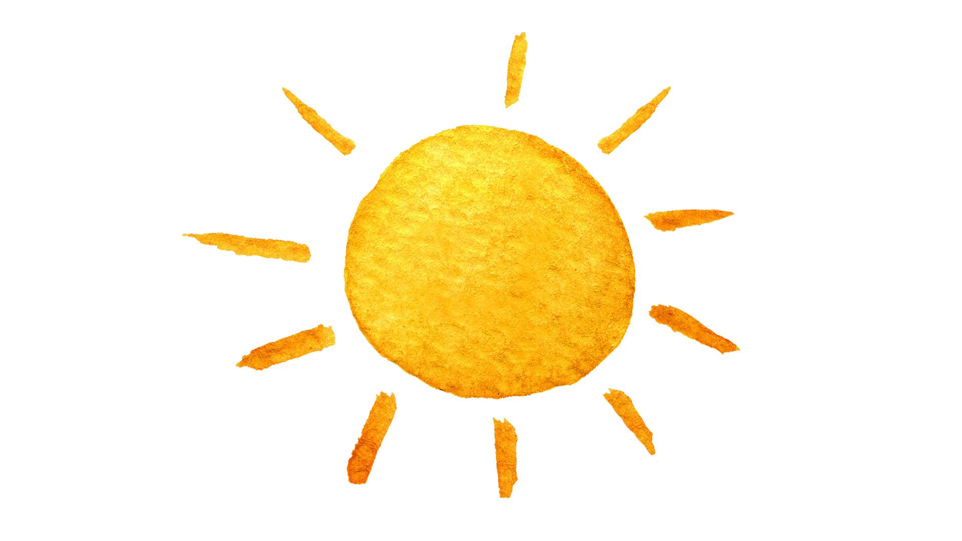 1920x1080 Cute Cartoon Sun. Hand Drawn Watercolor Illustration. Watercolour
