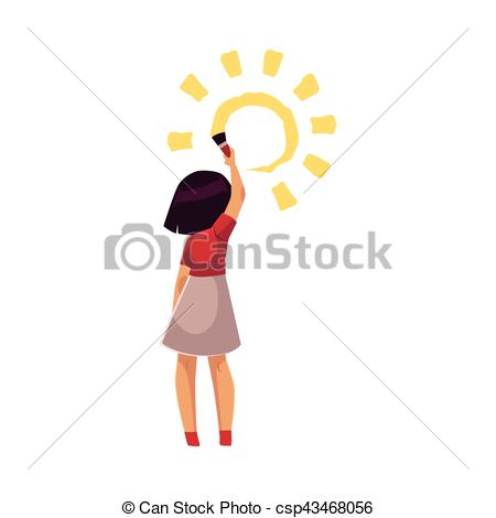 450x470 Full Length Portrait Of Little Girl Standing And Drawing Sun