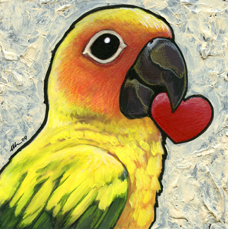 449x450 Sun Conure With Heart By `ursulav On Art I Like