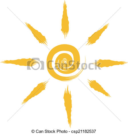 448x470 Abstract Sun Drawing Isolated On White Background. Vectors