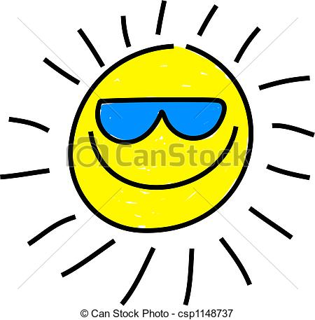 450x457 Cool Sun. Whimsical Drawing Of A Isolated Sun Wearing Stock