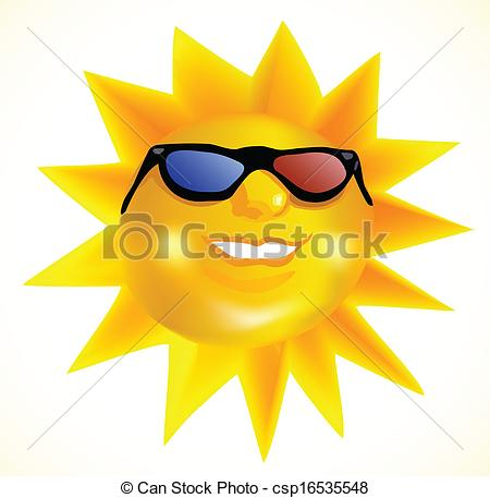450x457 Funky Fashionable Sun Wearing 3d Spectacles. Vector Eps Vector