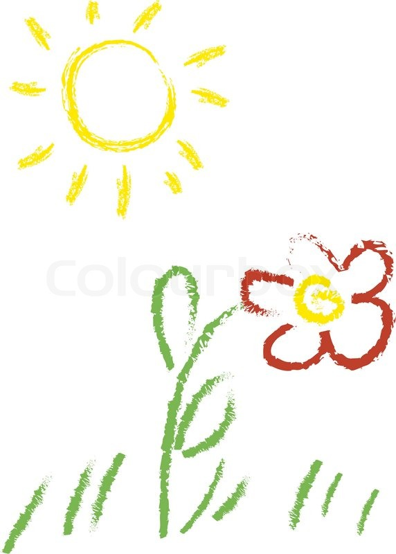 572x800 Child Vector Drawing With Sun And Flower Stock Vector Colourbox