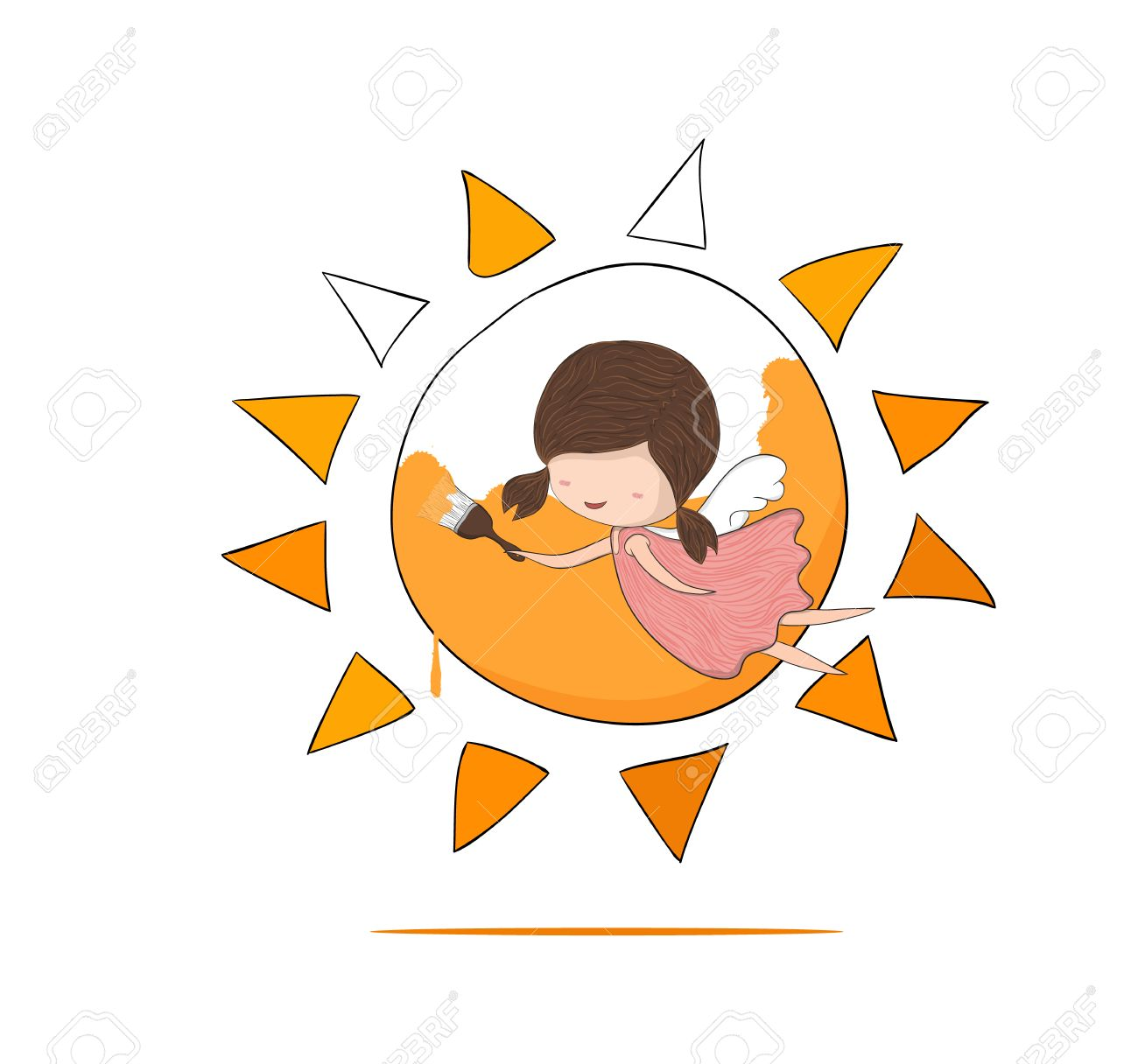 1300x1216 Cute Doodle Of A Girl Angel Painting A Sun, Drawing By Hand Vector
