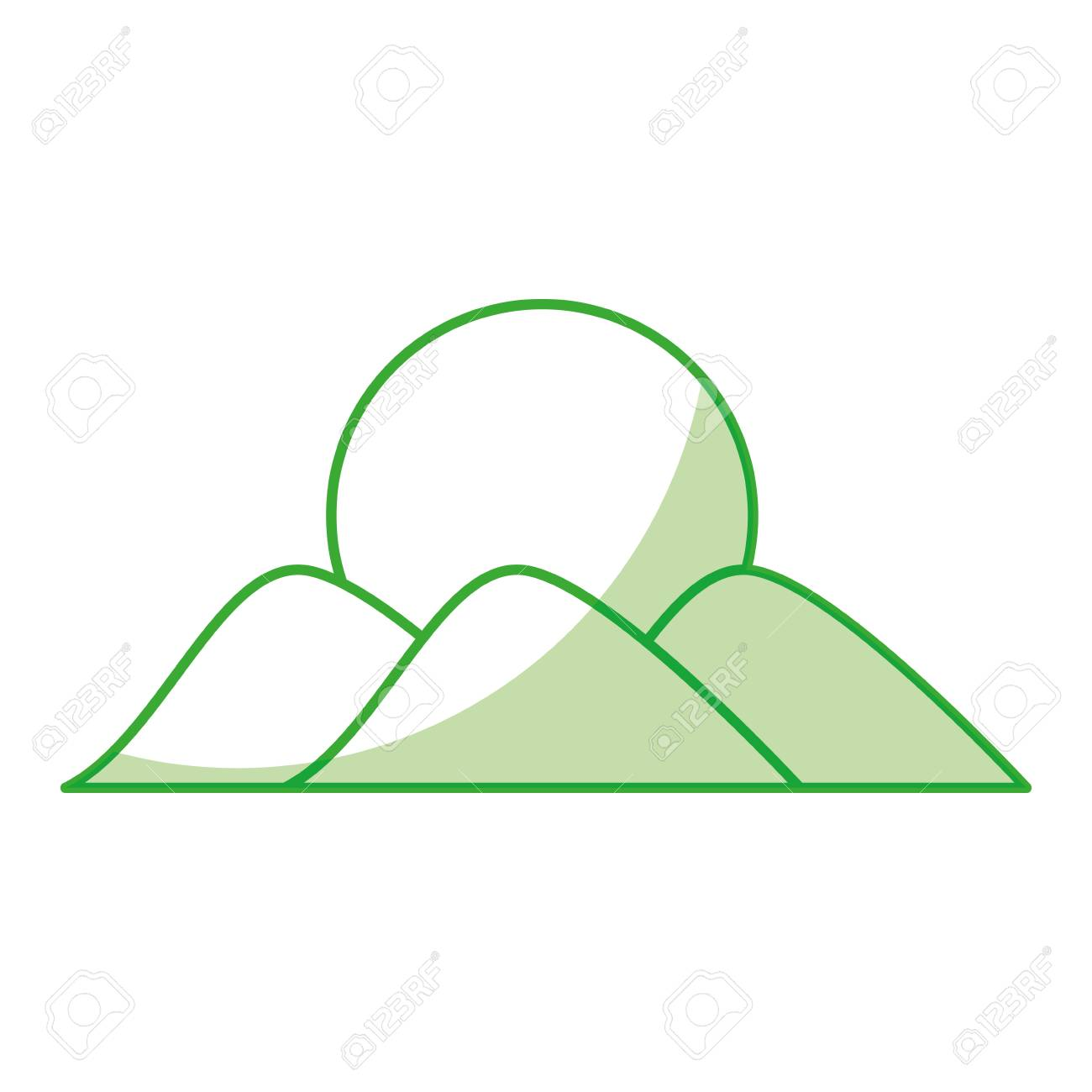 1300x1300 Mountain With Sun Drawing Vector Illustration Design Royalty Free