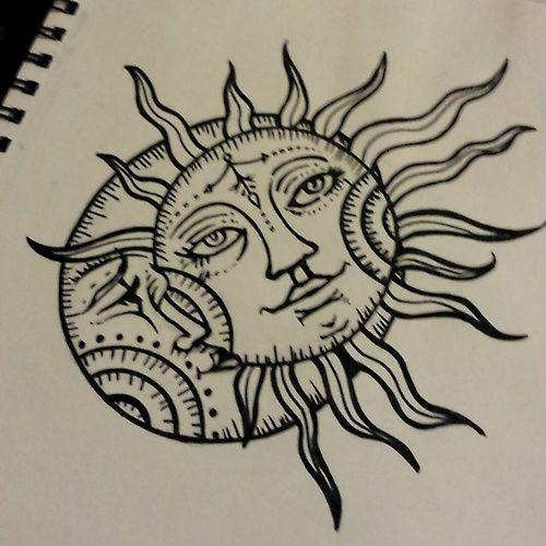 500x500 Sun Drawing Tattoo Moon Design Ink Tattoo Moon