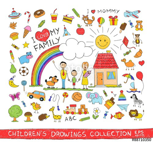 500x468 Child Hand Drawing Illustration Of Happy Family With Kids Near
