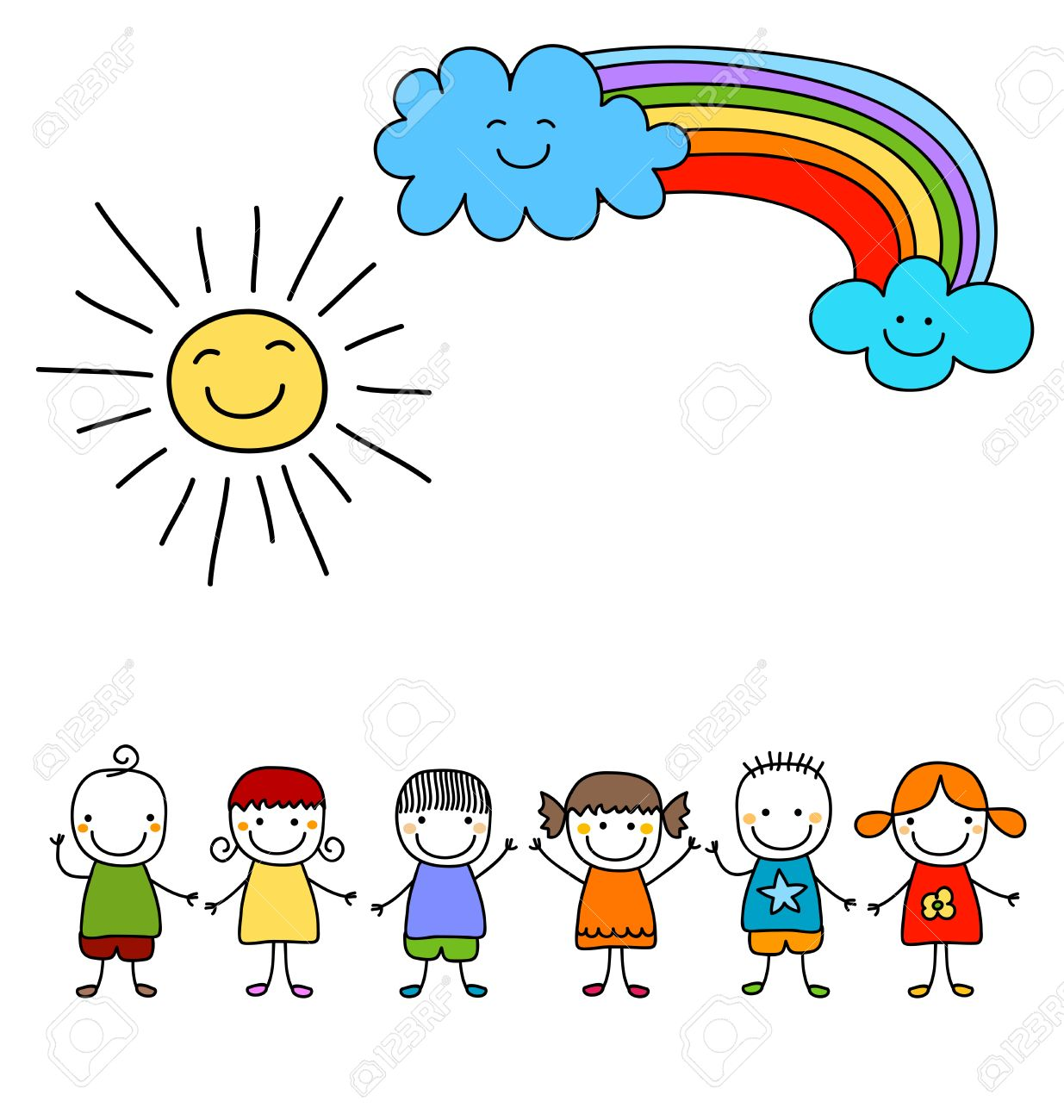 1235x1300 Group Of Kids With Sun And Rainbow, Child Like Drawing Royalty
