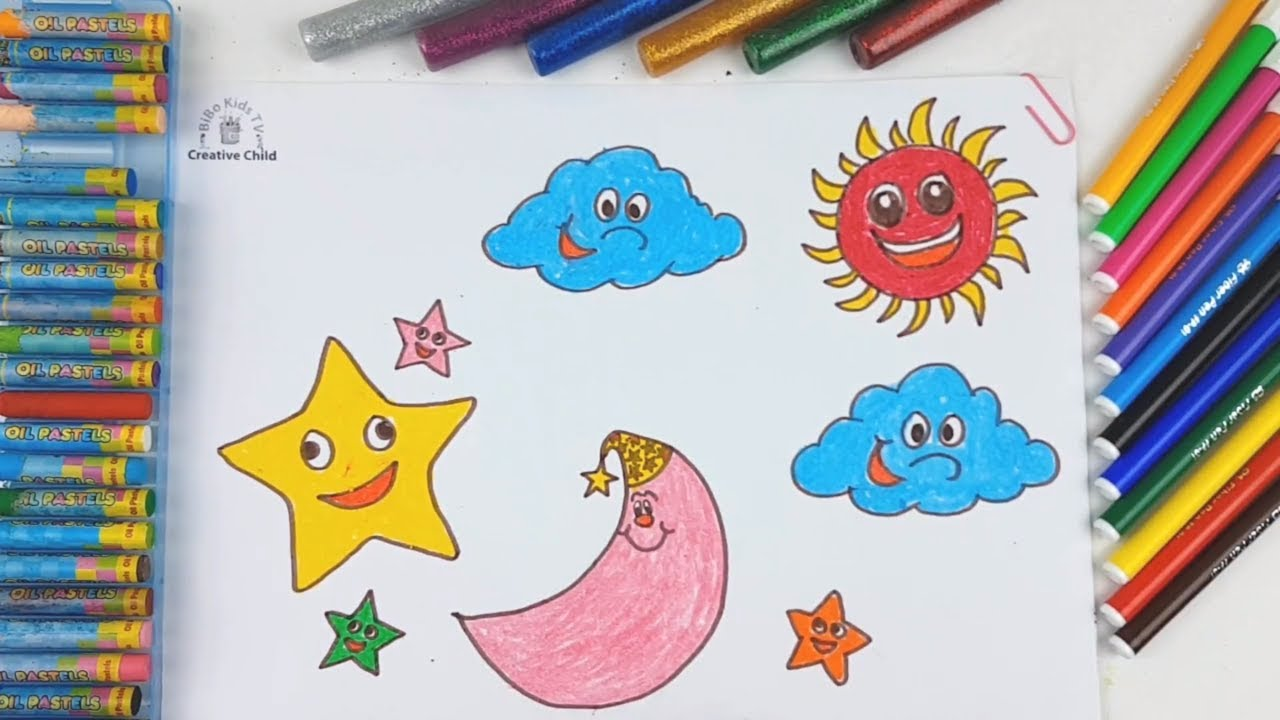 1280x720 How To Draw Moon, Sun, Star For Kids Coloring Pages For Children