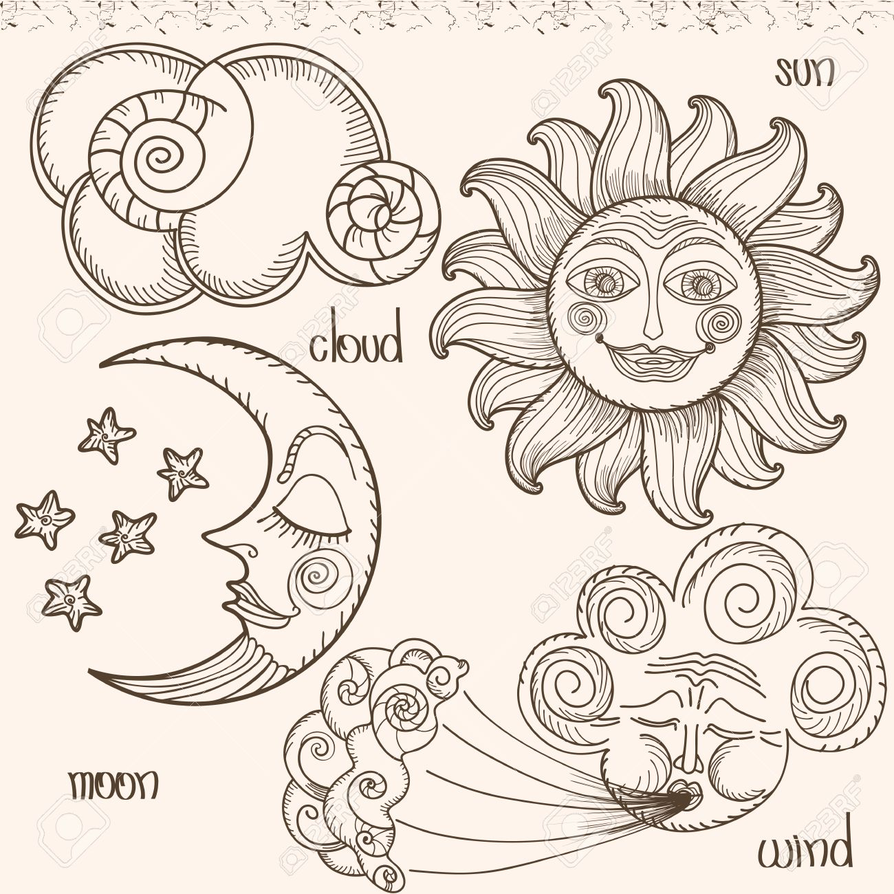 1300x1300 Image Of The Sun, Moon, Wind And Clouds. Hand Drawing. Imitation