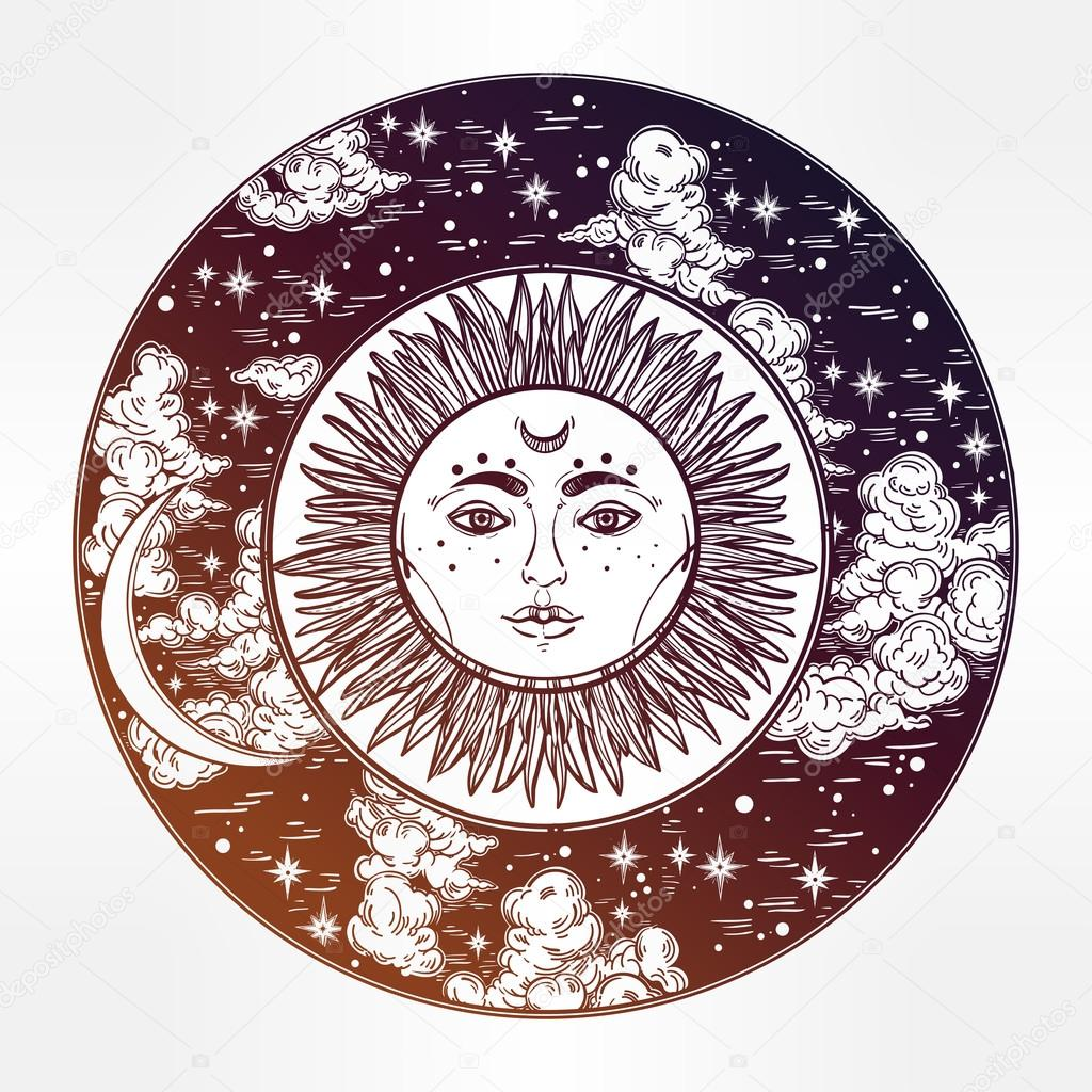 1024x1024 Round Drawing Of A Night Sky With Sun. Moon Inside Stock Vector