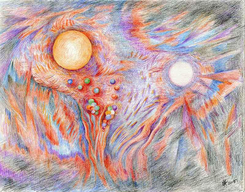 800x629 Sun Moon Artwork Original Color Pencil Drawing Depicting The Big