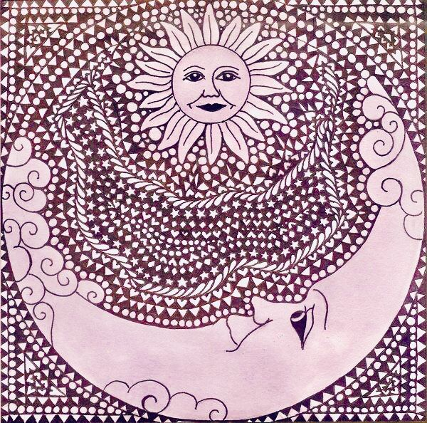600x594 Pin By Patti Rakes On Celestial Art Moon, Zentangle