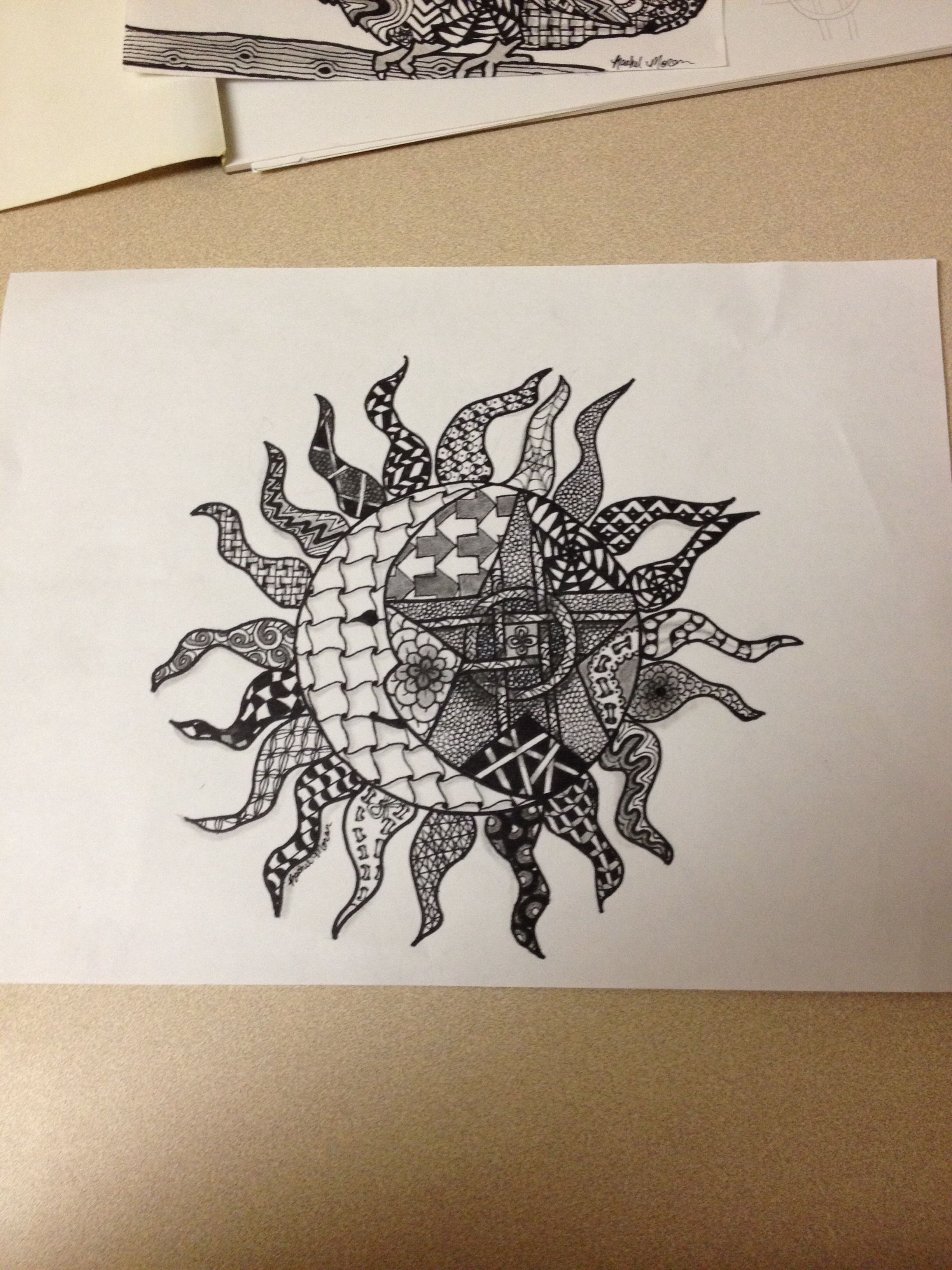 2448x3264 Zentangle Sun, Moon, Star Zentangle Moon