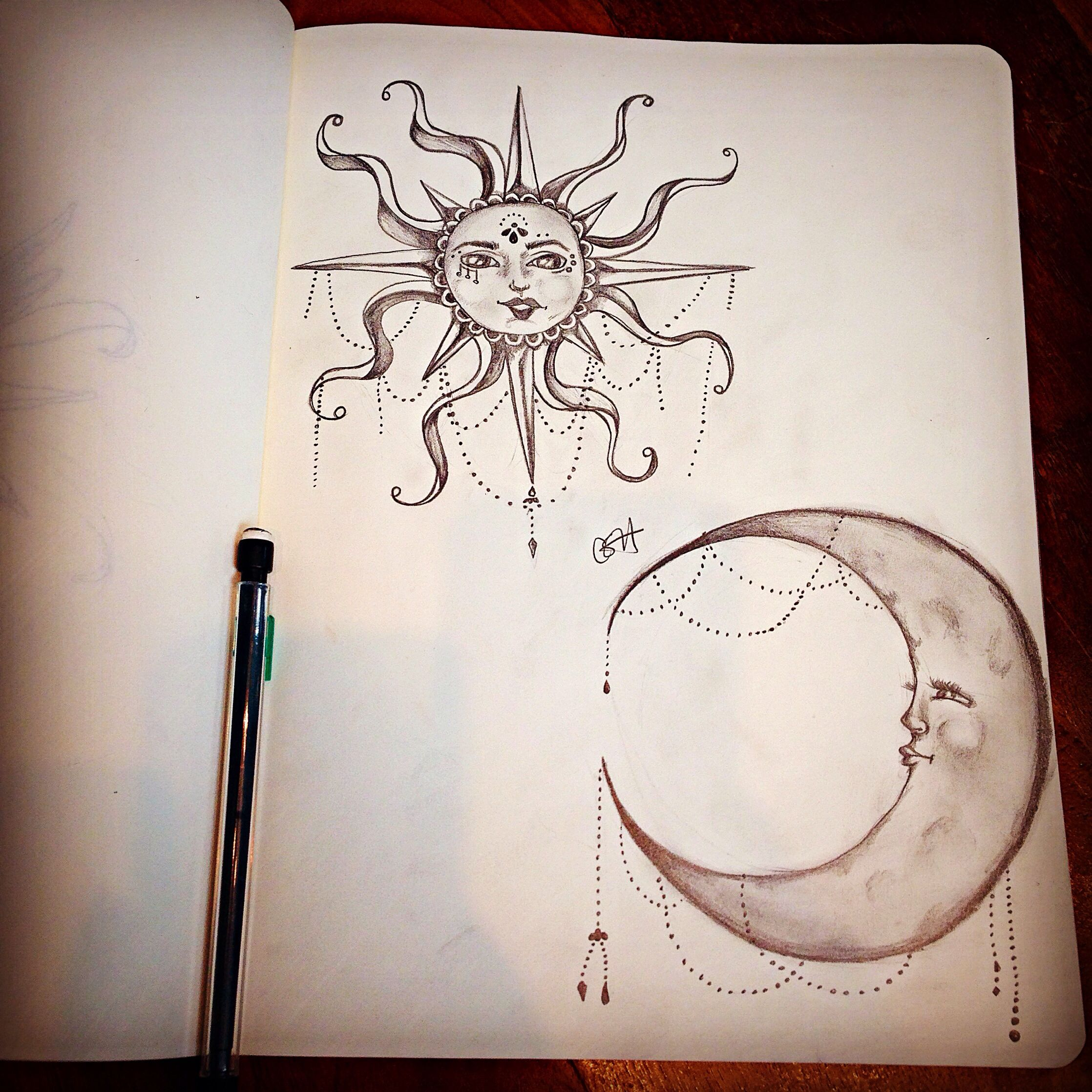 2236x2236 Moon Amp Sun Pencil Drawing The Pencil Heart Moon