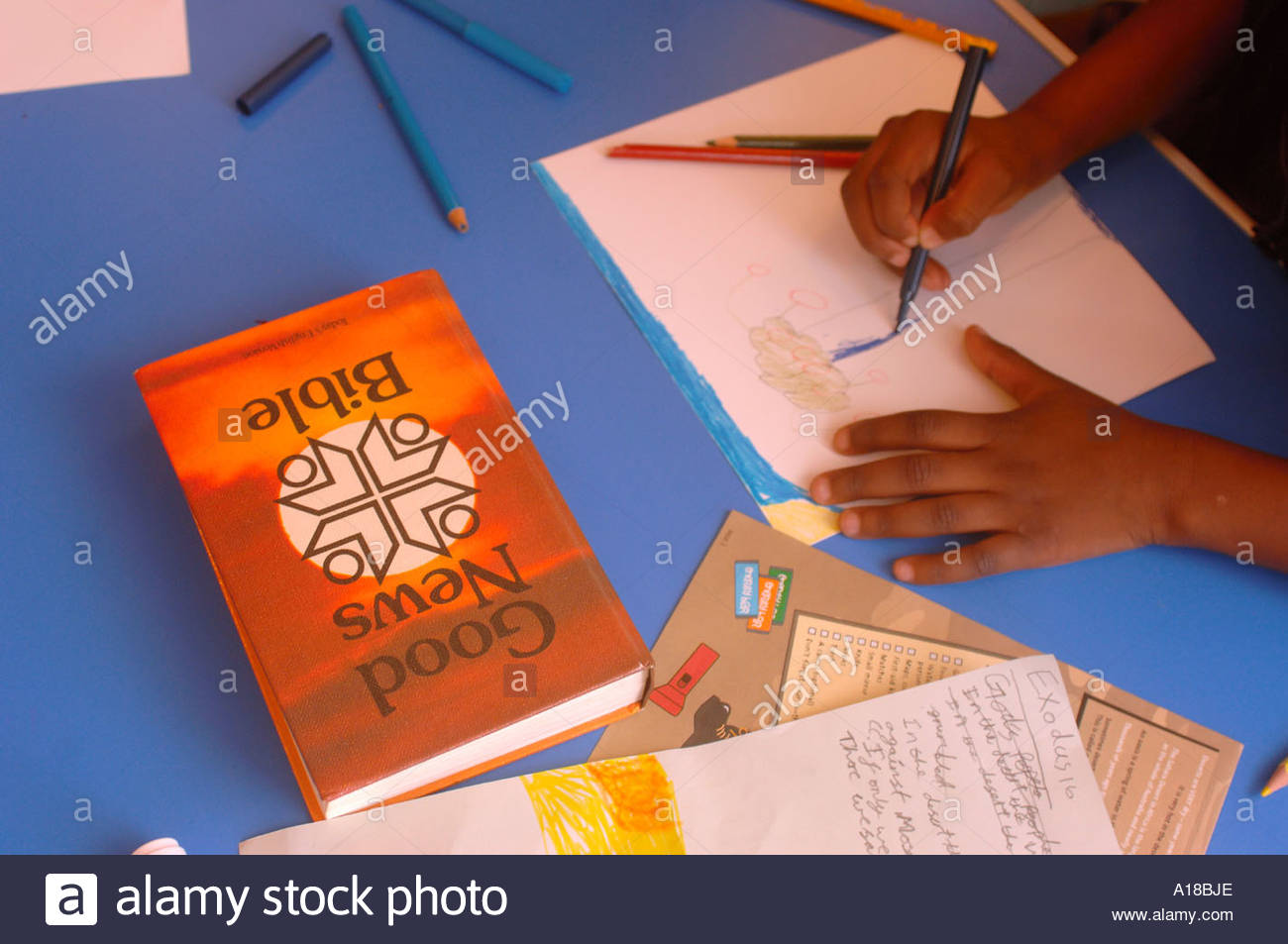 1300x953 A Child Colouring In A Drawing At A Sunday School Uk Stock Photo