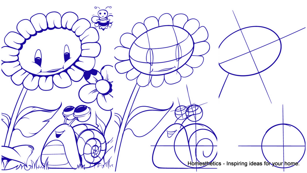1200x675 Learn How To Draw A Sunflower And A Snail