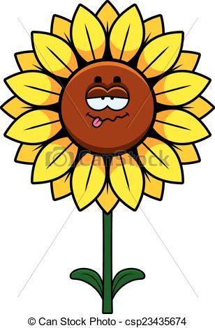 308x470 Sick Sunflower. A Cartoon Illustration Of A Sunflower Vectors