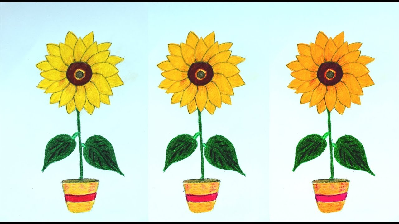 1280x720 How To Draw A Sunflower Easy Step By Step Sunflower Drawing