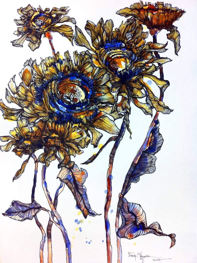 770x1027 Saatchi Art Sunflowers Drawing By Vania Siqueira