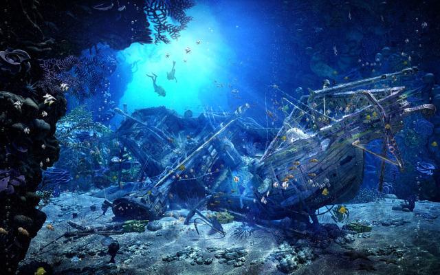 Look for Hidden Treasure with Sunken Ship Aquascapes ... |Sunken Ships Underwater