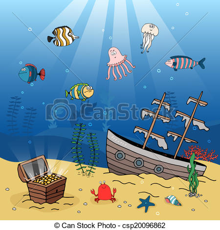 450x470 Free Sunken Ship Clip Art Underwater Illustration Of A Sunken