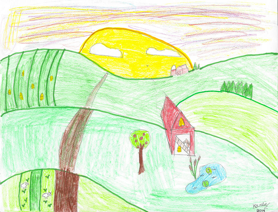 900x685 Child's Farm Sunrise Drawing Photograph By Karlie White