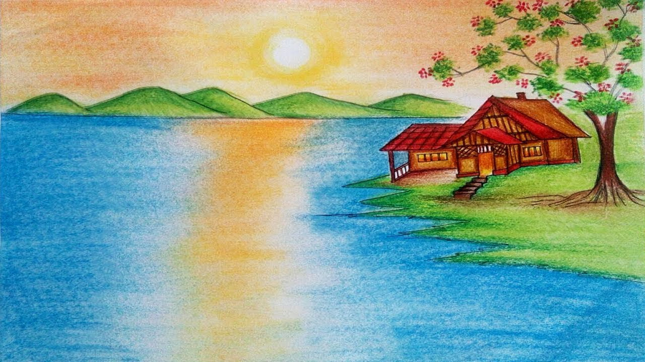 1280x720 Drawing Nature Scenery Sunrise Natural Scenery Drawing