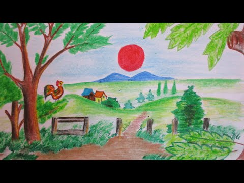 480x360 How To Draw A Beautiful Sunrise Scenery Drawing Channel 17