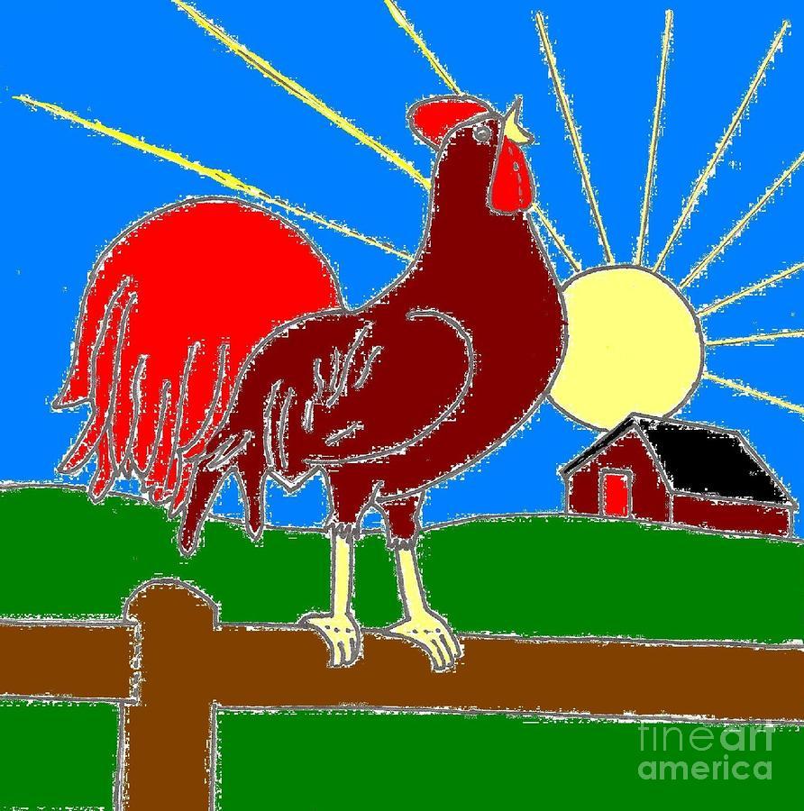 892x900 Rooster At Sunrise Digital Art By Jeannie Atwater Jordan Allen